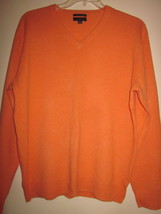 Men's Size Large Cashmere Orange/Peach V neck Sweater - £19.14 GBP