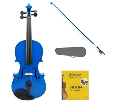 1/10 Size Acoustic Blue Violin with Blue Bow,Case, Rosin+Extra Set of Strings - $39.00