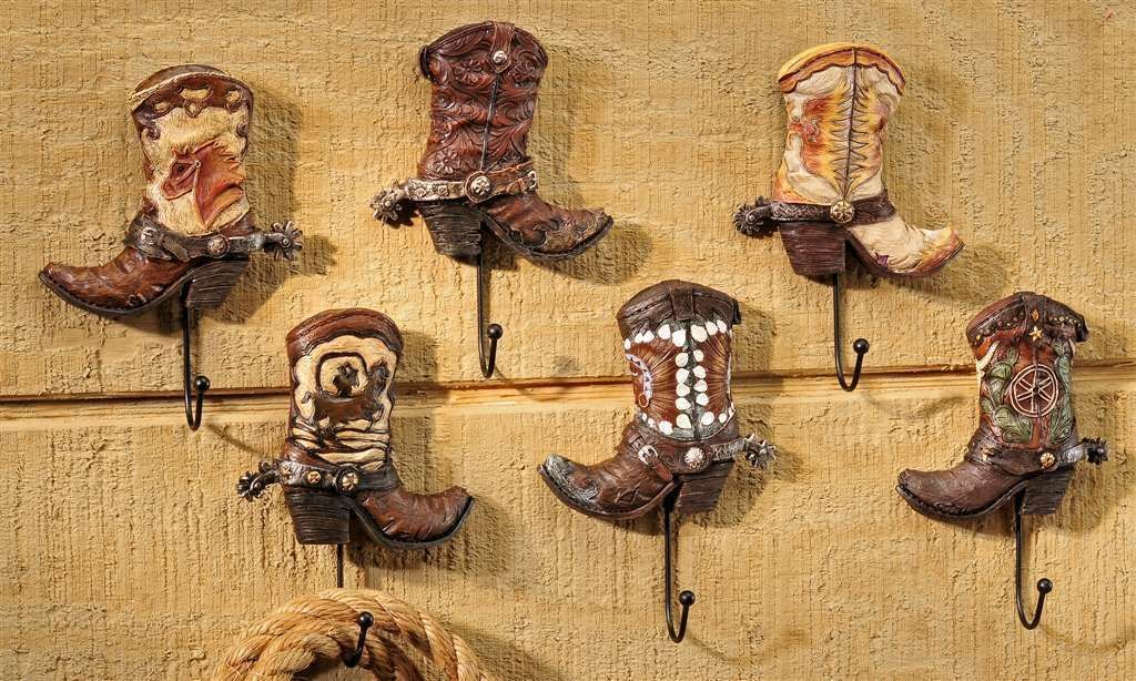 "Set of 6 - Cowboy Boot Design Wall Hooks -  7"" High Polystone"