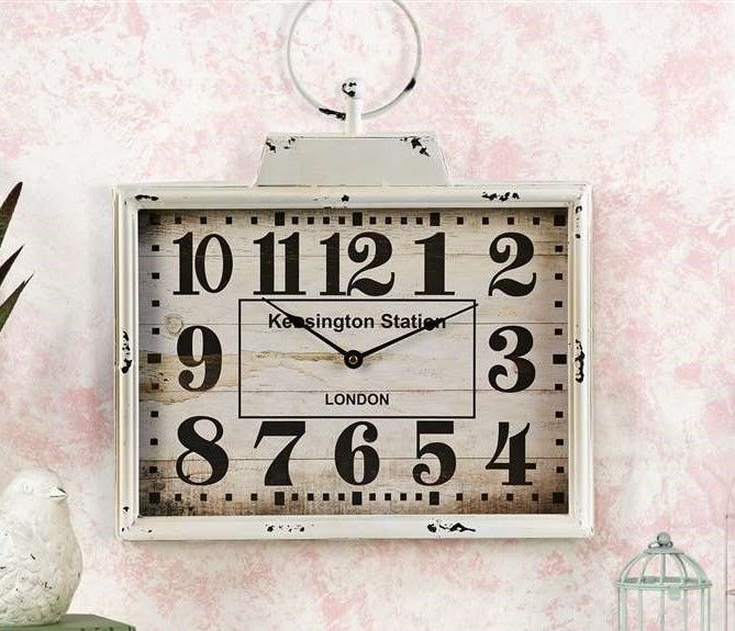 "15"" White Wash Large Metal Rectangle Antique Look Wall Clock  Glass Front  NEW"
