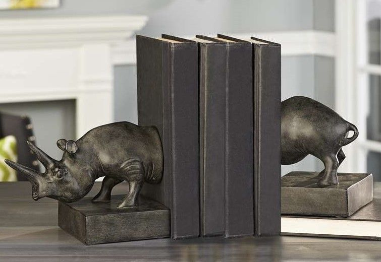 Rhinoceros Safari Bookends Set of 2 - Antiqued Gold Finish Polyresin