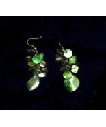 Green Mother Of Pearl Cluster Pierced Drop Earrings - $5.00