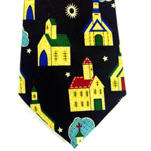Church Religious Tie Necktie Steeple Clergy Star Designer A. Rogers Blac... - $14.84