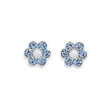 Light Blue Crystal and Simulated Pearl Flower Design Post Earrings - $15.98