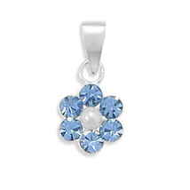 Light Blue Crystal and Simulated Pearl Flower Design Pendant - $14.98