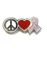 Breast Cancer Awareness Lapel Pin Peace Sign Re... - $12.57
