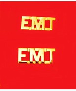 EMT Collar Pin Set Gold Cut Out Letters Emergen... - $8.97