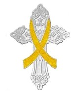 Yellow Cross Awareness Ribbon Pin Cancer Cause ... - $11.97