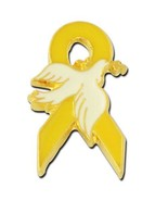 Yellow Awareness Ribbon White Dove Lapel Pin Ca... - $8.77