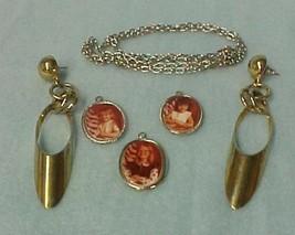 Dangle Earrings Silver Chain Picture Pendant Necklace Costume Fashion - $14.67