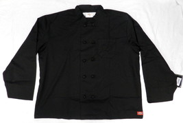 Dickies CW070304B Cloth Knot Button Black Uniform Chef Coat Jacket 2X New - $39.17