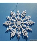"10 pieces Pearled AB (Aurora Borealis) 4""Glittered Plastic Snowflake Orn... - $7.00"