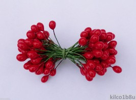 "RED HOLLY BERRIES 3/8"" w-green wire for Holiday decorating #4 - $4.50"