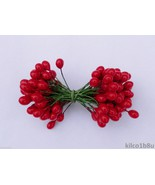 """RED HOLLY BERRIES 3/8"""" w-green wire for Holiday decorating #4 - $4.50"""