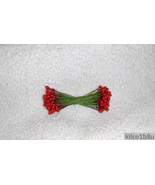 """RED HOLLY BERRIES 1/4"""" w-green wire for Holiday decorating #2 - $4.25"""