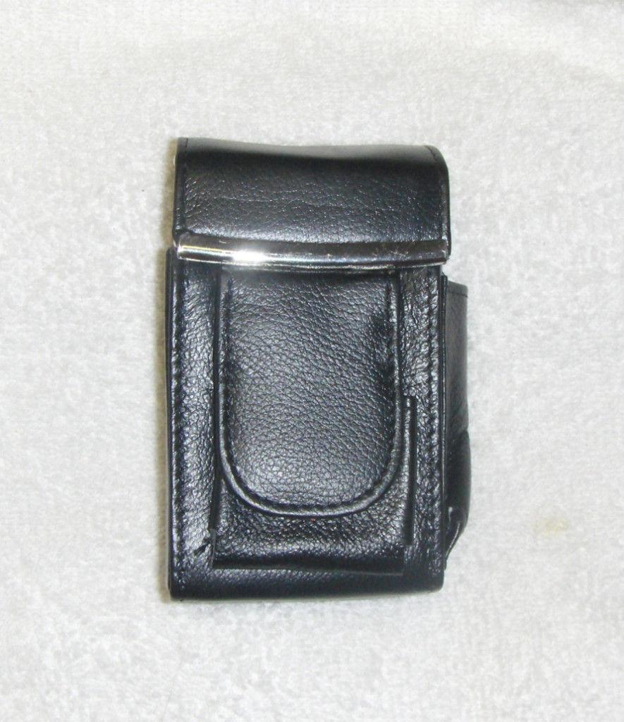 New Genuine Leather Hard Cigarette Case Flip Top - BLACK - $16.00