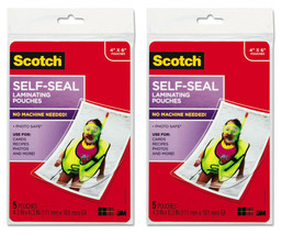 "New Lot of 2 x 5 Scotch 3M Self-Sealing Laminating Pouches 4"" x 6"" PLG00G"