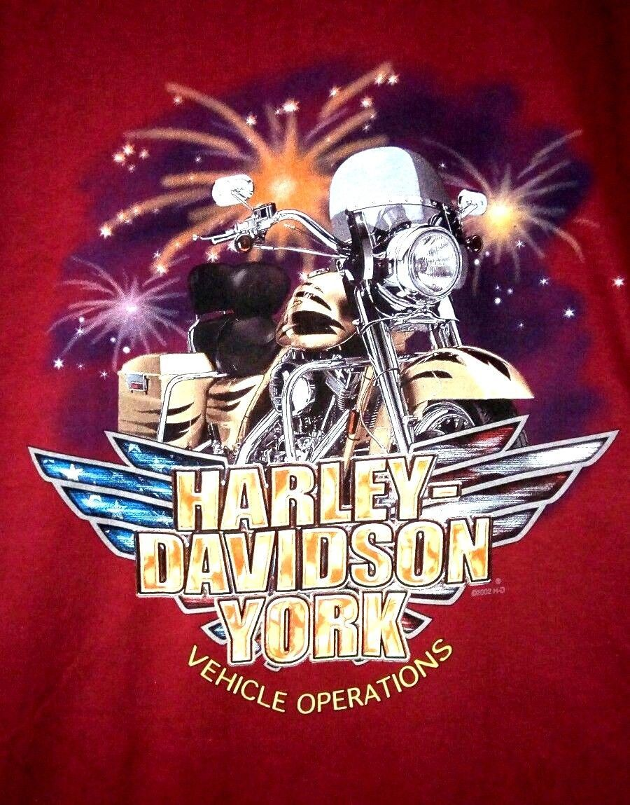 NWOT Harley Davidson York Vehicle Operations 2002 Men's L Red Hanes Beefy TShirt