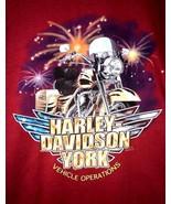 NWOT Harley Davidson York Vehicle Operations 2002 Men's L Red Hanes Beef... - $27.88