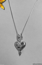 Sterling Silver Diamond Cut Heart with Arrow Necklace - $44.00