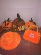 girls pretend play dress up faux fur hat and purse set orange halloween  - $8.00