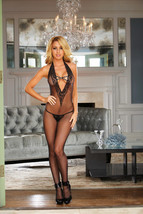 Hustler Lingerie Crotchless Lace and Fishnet Bodystocking in One Size - $19.99