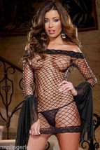 Dreamgirl Lingerie Sexy Seductive Siren Shoulder Fence Net Dress & Thong... - $28.99