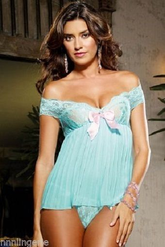 Primary image for Dreamgirl Lingerie Sexy Pleated Aqua Babydoll and Thong Set
