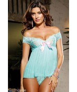 Dreamgirl Lingerie Sexy Pleated Aqua Babydoll and Thong Set - $29.99
