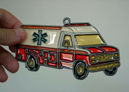 Vintage 70s Old School AMBULANCE EMS Paramedic Sparkle Window Suncatcher... - $15.99