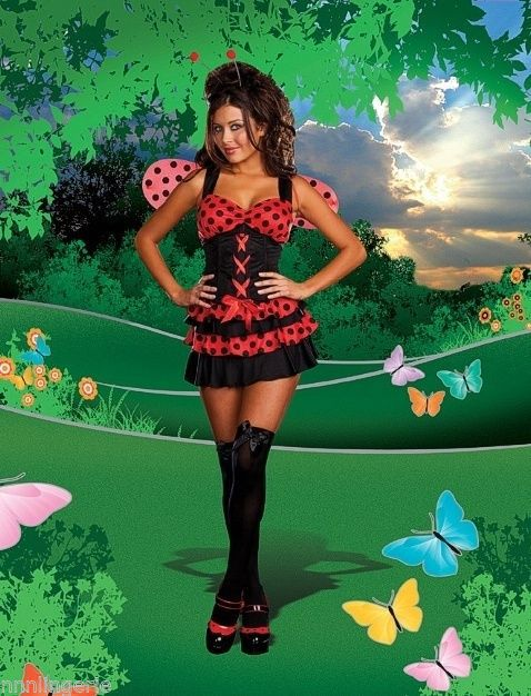 Primary image for Dreamgirl Lingerie Lovely Ladybug Ruffled Corset Costume Set + Wings & Headband