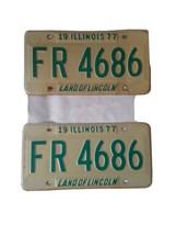 1977 Illinois License Plates Pair