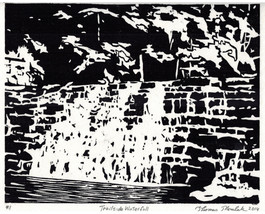 Trailside Waterfall original hand printed woodc... - $39.99