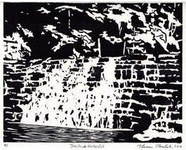 Trailside Waterfall original hand printed woodc... - $39.99