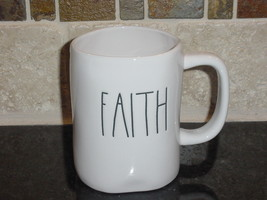Rae Dunn FAITH Rustic Mug, Ivory with Black Letters, New! - $13.00