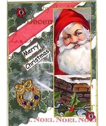 ACEO ATC Art Collage Print Santa Merry Christmas Wreath Chimney Holiday  - $2.75