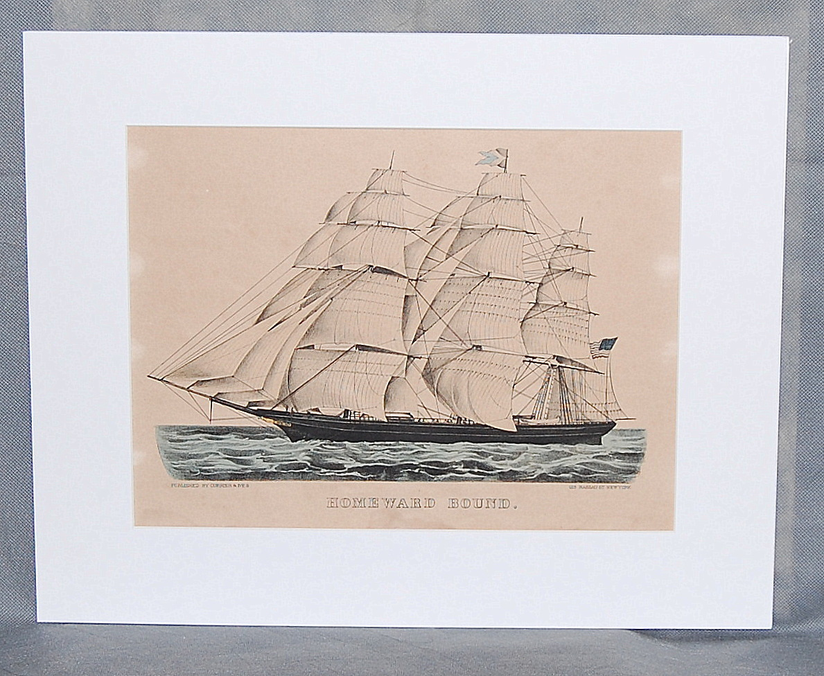 Currier &  Ives Hand Colored Lithograph Homeward Bound Clipper Ship Small Folio - $650.00