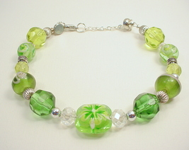 Stacking Bracelet with Crystal, Glass, Lampwork and Metal Beads in Tones... - $30.00