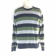 Men's Gap Sweater Med Navy Blue Green Gray Stripe Ribbed Stretch - $17.41