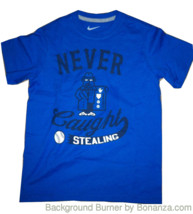 BOYS YOUTH KIDS NIKE NEVER CAUGHT STEALING GRAPHIC TEE T SHIRT BLUE NEW  - $12.99
