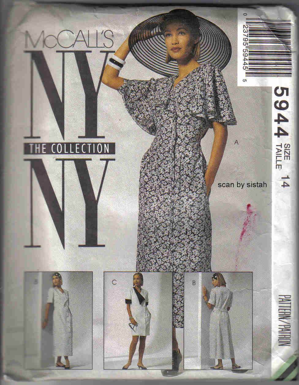 McCall's 5944 Pattern 14 Dress misses retro capelet button front