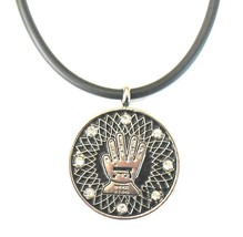 JUDAICA COHANIM BLESSING HAMSA SS COIN PENDANT NECKLACE WITH SHEDAI - $8.99