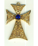 GOLD PLATED JERUSALEM CROSS PENDANT WITH BLUE STONE - $9.99