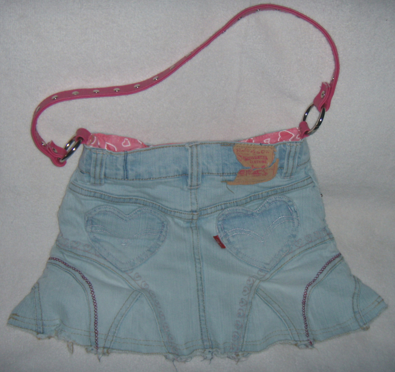 Girls Recycled Levi Skirt Purse