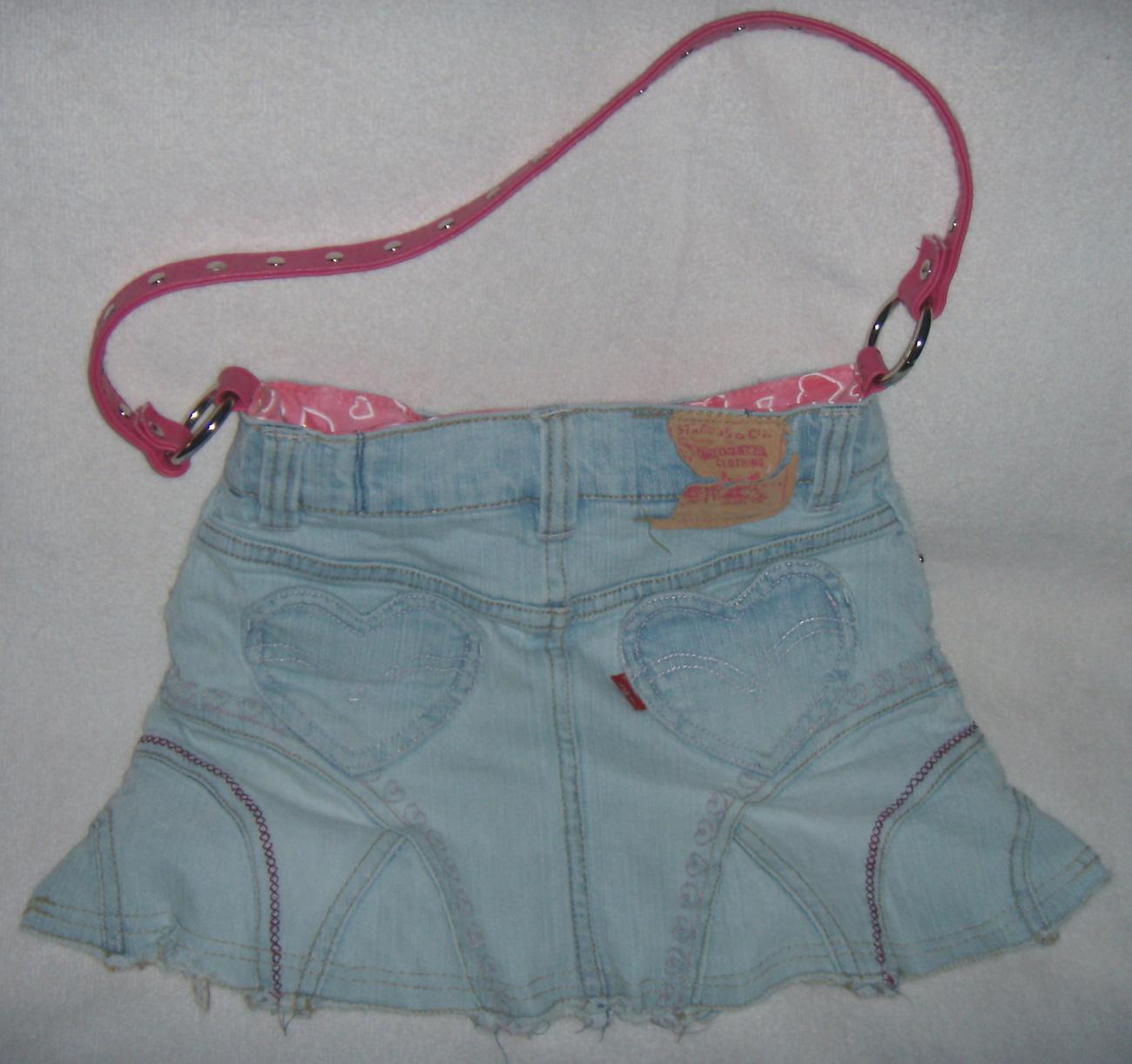 Girls Recycled Levi Skirt Purse