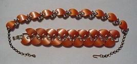 Signed CLAUDETTE Peach Orange THERMOSET CHOKER NECKLACE BRACELET Set Vin... - $171.81