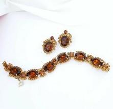 Hattie Carnegie Signed Topaz Rhinestone Bracelet And Earring Set - $117.81
