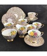 Vintage English Bone China Lubern Yellow Rose Floral Tea Set 21 piece - $325.00