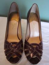 Ladies Cole Haan platform heels in Burgundy patent leather size 8 - $35.00