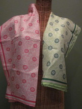 Two Banana Republic Floral Silk Scarves in Green & Pink - $25.00